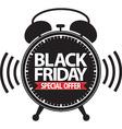 Black friday special offer alarm clock black icon vector image