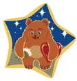 light brown bear with flowers and hearts vector image