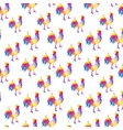 Seamless pattern with cocks in the geometric style vector image