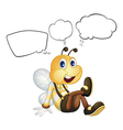 A smiling bee with empty callouts vector image vector image