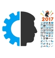 Android Head Icon With 2017 Year Bonus Pictograms vector image vector image