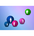 Balls with family silhouettes vector image