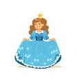 beautifull little girl princess in a blue ball vector image