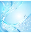 Blue abstract notes music background vector image