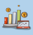 business statistics with arrow up and coins vector image vector image
