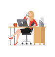 busy businesswoman talking on phone flat style vector image