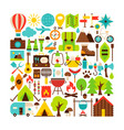 camping isolated objects big set vector image vector image