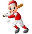 cartoon boy playing baseball vector image vector image