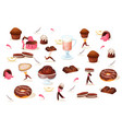 chocolate desserts with little people set vector image vector image