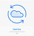 cloud sync thin line icon vector image vector image