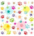 colored pattern with paw prints and blots vector image vector image