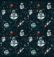 comic space with stars funny astronauts and vector image vector image