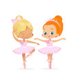 cute caucasian ballerina child dancing couple vector image