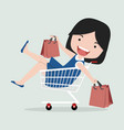 cute girl sitting in shopping cart vector image
