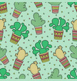 cute seamless pattern with cactuses vector image vector image