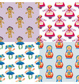 different dolls toy character game dress seamless vector image vector image