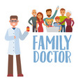 family doctor concept with young practitione vector image