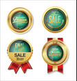 golden sale green badge collection vector image vector image