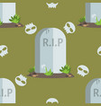 halloween seamless pattern tombstones with rip vector image