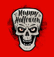 happy halloween greeting card scary skull vector image vector image