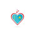 kazakhstan country flag inside love heart vector image