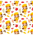 Little Autumn Girl Seamless pattern vector image