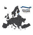 map of europe with the state of estonia vector image vector image