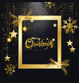 merry christmas golden glitter frame decor vector image