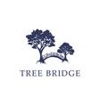 nature tree bridge logo idea modern and creative vector image vector image