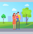 parents and son on fathers hands city park vector image vector image