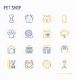 pet shop thin line icons set vector image vector image