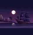 pirate ship sailing near uninhabited island vector image