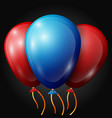 realistic red blue balloons with ribbons vector image