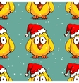 Santa Chicken Seamless Pattern vector image