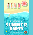 sea beach with happy people summer party vector image vector image