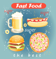 Set of food and drink fast food vector image vector image
