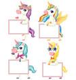 set unicorn holding blank banner vector image vector image