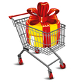 shopping cart with a great gift vector image vector image