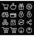 Shopping online store white icons on black vector image vector image