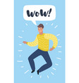 successful beard businessman character jumps for vector image