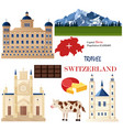 switzerland architecture and symbolistic elements vector image vector image