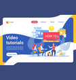 video tutorials flat landing page template vector image vector image