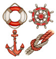 watercolor red nautical icons buoy anchor helm vector image
