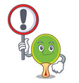with sign ping pong racket character cartoon vector image vector image