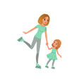 young mother and her little daughter skating on vector image vector image