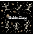 Dancing skeletons in different poses icons vector image