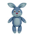 a funny knitted rabbit toy on white background vector image