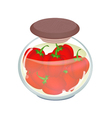 A Jar of Pickled Red Bell Peppers vector image vector image