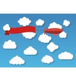 Airship in the cloudy sky Flat vector image