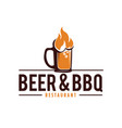 beer and barbecue logo with fire glass beerb vector image vector image